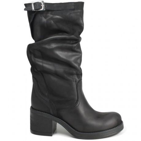 Stivali Biker Boots Medi con Tacco '58/M' - Nero