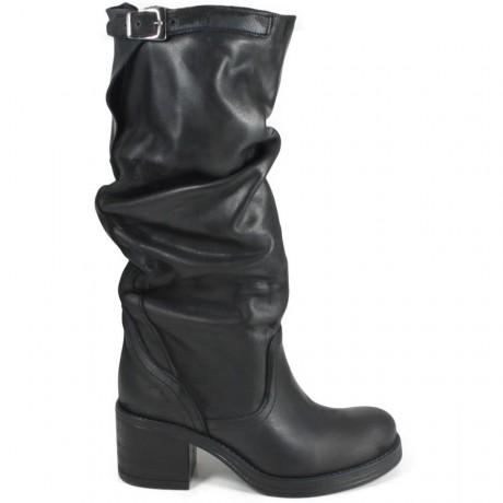 Stivali Biker Boots Alti con Tacco '58/A' - Nero