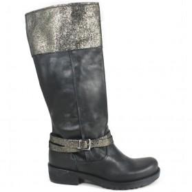 Stivali Biker Boots con Pelle Laminata '745/LAM' - Nero