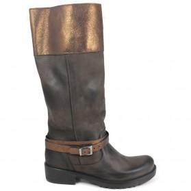 Stivali Biker Boots con Pelle Laminata '745/LAM' - Testa di Moro