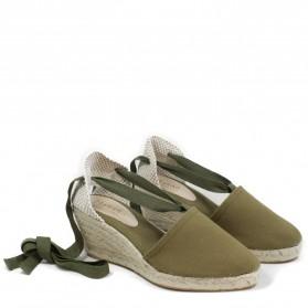 Espadrillas con Zeppa Media e Laccio alla caviglia '501' - Verde Militare