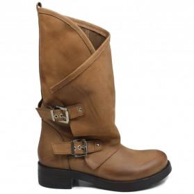 Stivali Biker Boots con due fibbie 'MANTRA/A' - Cuoio