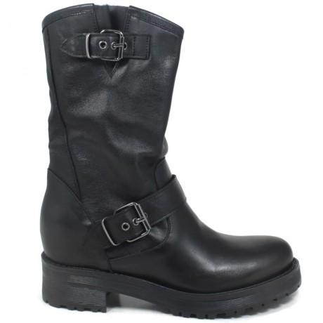 Hidden Wedges Biker Boots 'JUDE' - Black