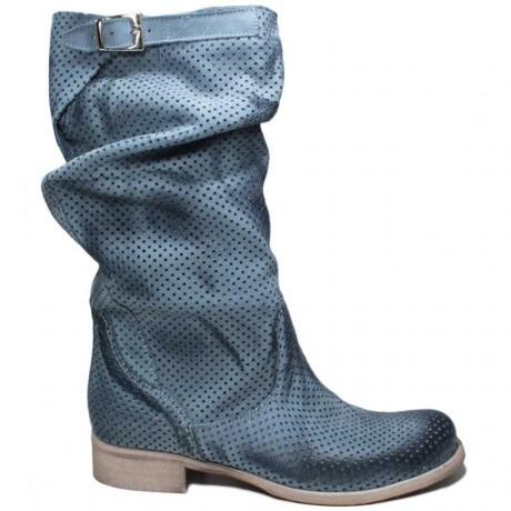 Stivali Biker Boots Traforati 'BIK/M' - Blu Avio