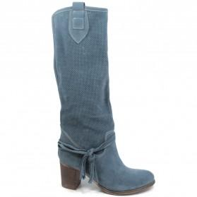 Stivali Traforati in Camoscio con Tacco '5020' - Jeans
