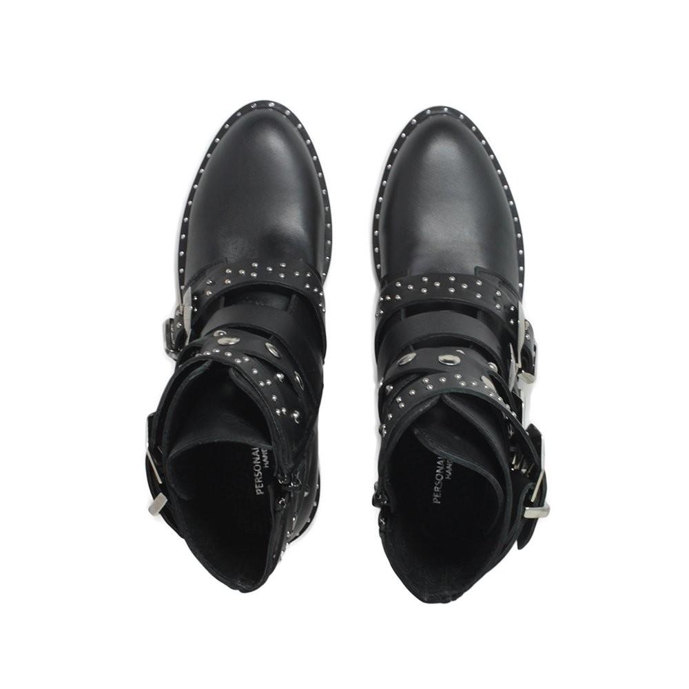 scarpe da ginnastica a buon mercato 7267d e7702 Stivaletti texani con cinturini borchie e fibbie Vera Pelle