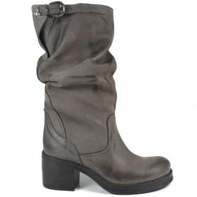 Stivali Biker Boots Medi con Tacco '58/M' - Grigio - Ultima Taglia 40