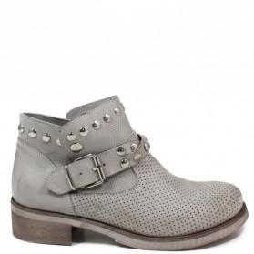 Stivaletti Ankle Boots Traforati con Borchie '4003' - Grigio - Ultima Taglia 37