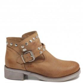 Stivaletti Ankle Boots Traforati con Borchie '4003' - Cuoio