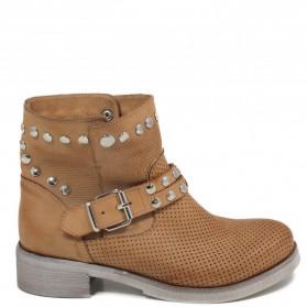 Stivaletti Ankle Boots Traforati con Borchie '4002' - Cuoio