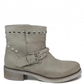 Stivaletti Ankle Boots Traforati con Borchie '4002' - Taupe