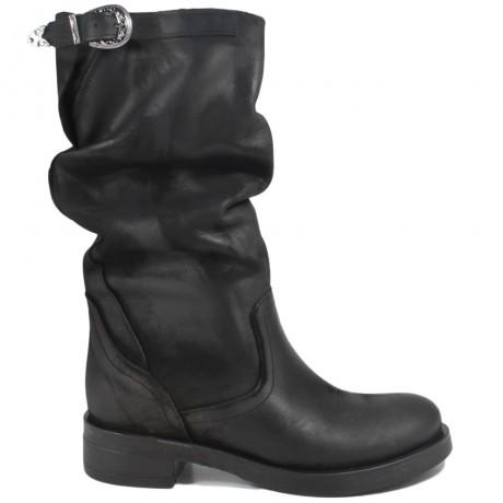 Stivali Biker Boots Metà Polpaccio 'NOA/M' - Nabuk Nero