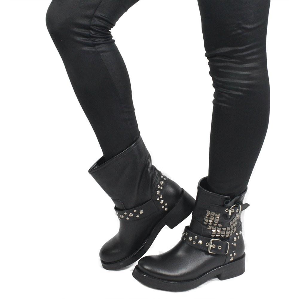 In Time Stivali Stivaletti Biker Boots Bassi Donna con Borchie Piramidali 0269 Nero Vera Pelle Made in Italy