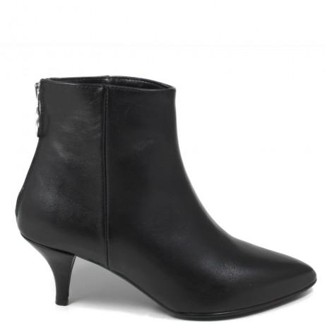 Ankle Boots Stivaletti con tacchetto '065' - Pelle Nero