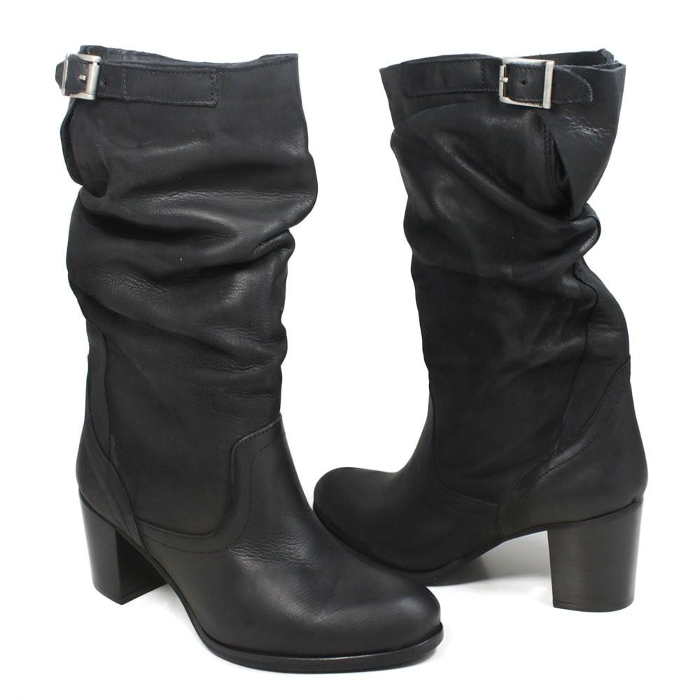 vari stili presentando Garanzia di soddisfazione al 100% Stivali Estivi Arricciati Nero con Tacco Donna Pelle Nabuk