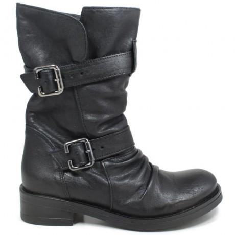 Stivali Biker Boots Risvoltabili 'FB' - Nero - Ultima Taglia 35