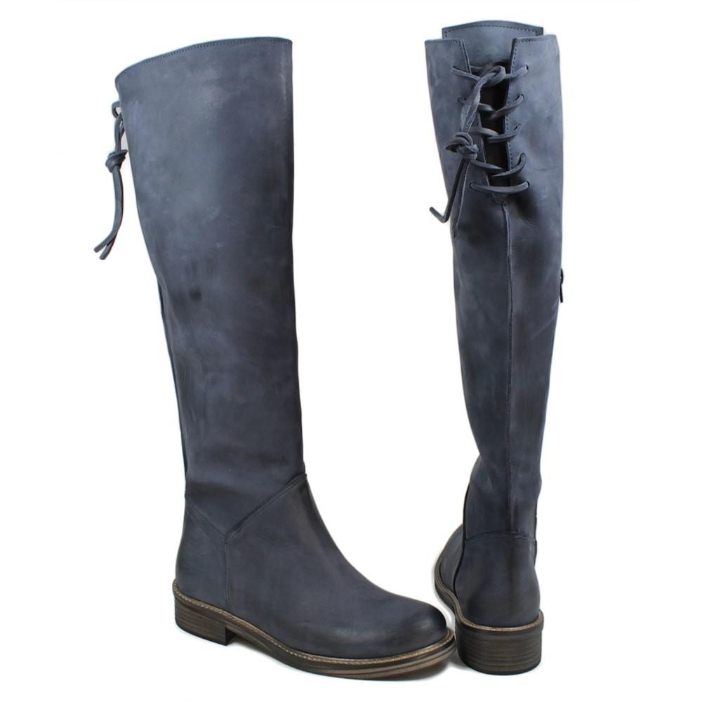 Stivali Alti Boots con Lacci Polpaccio Vera Pelle Nabuk Blu